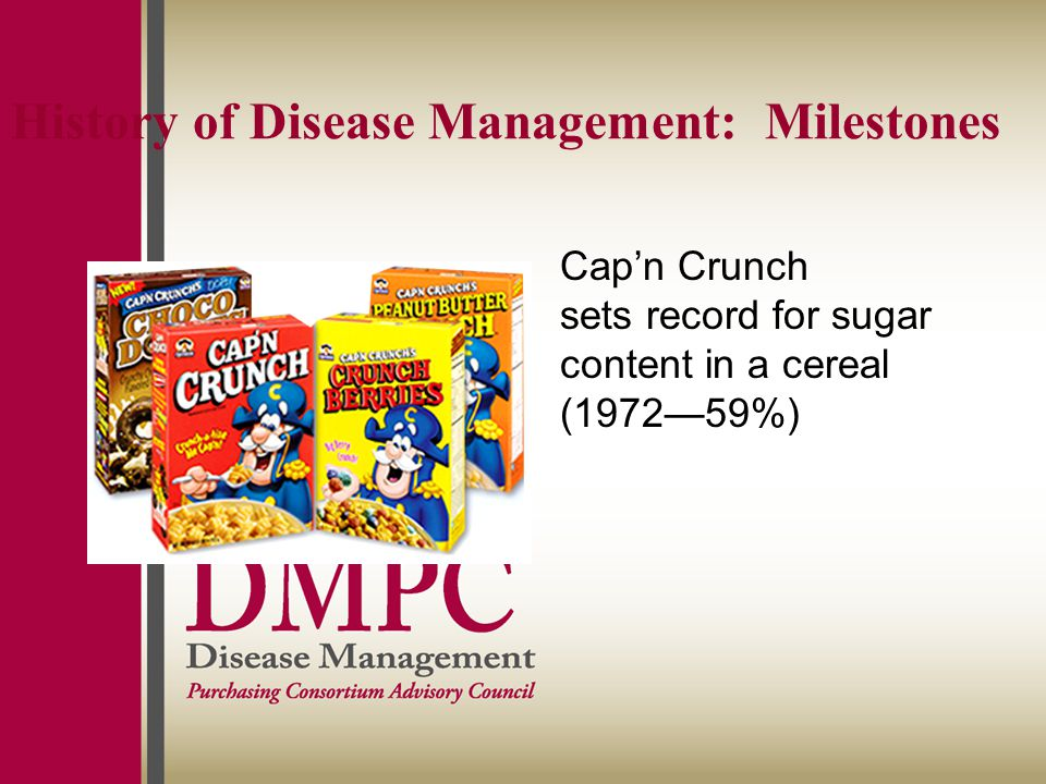History of Disease Management: Milestones Cap'n Crunch sets record for sugar content in a cereal (1972—59%)