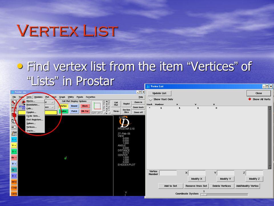 Vertex List Find vertex list from the item Vertices of Lists in Prostar Find vertex list from the item Vertices of Lists in Prostar