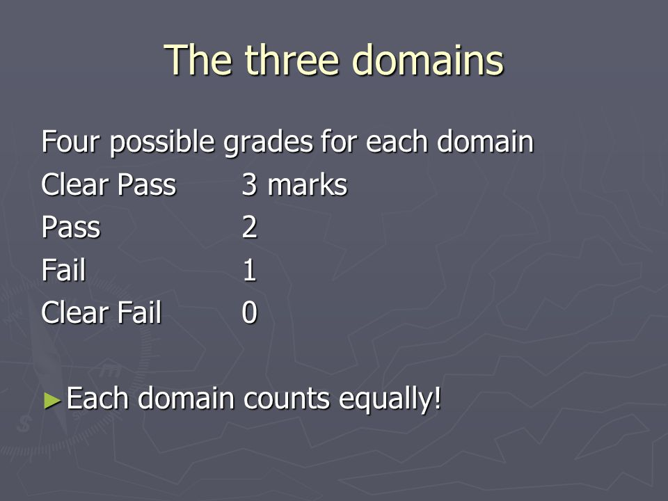 The three domains Four possible grades for each domain Clear Pass 3 marks Pass 2 Fail1 Clear Fail0 ► Each domain counts equally!