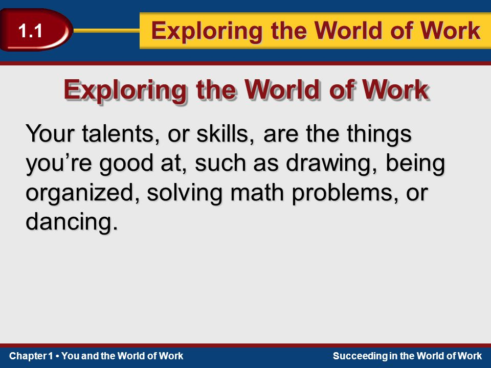 Chapter 1 You and the World of WorkSucceeding in the World of Work Exploring the World of Work 1.1 Your talents, or skills, are the things you're good