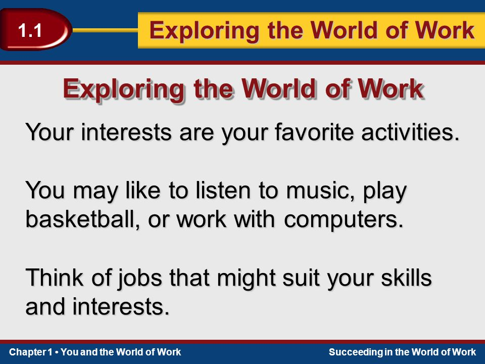 Chapter 1 You and the World of WorkSucceeding in the World of Work Exploring the World of Work 1.1 Your interests are your favorite activities. You ma