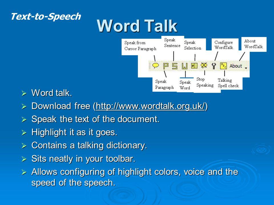 Word Talk  Word talk.