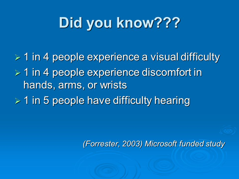 Did you know???  1 in 4 people experience a visual difficulty  1 in 4 people experience discomfort in hands, arms, or wrists  1 in 5 people have di