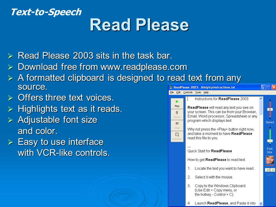 Read Please  Read Please 2003 sits in the task bar.