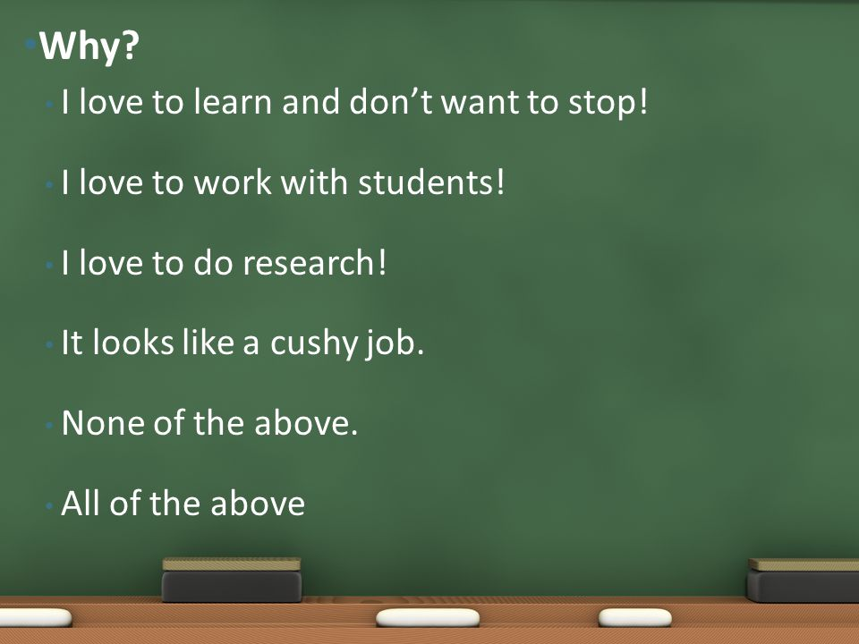 I love to learn and don't want to stop! I love to work with students! I love to do research! It looks like a cushy job. None of the above. All of the
