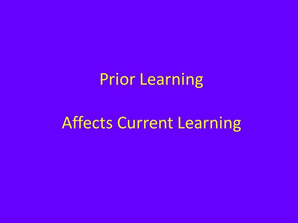 Prior Learning Affects Current Learning