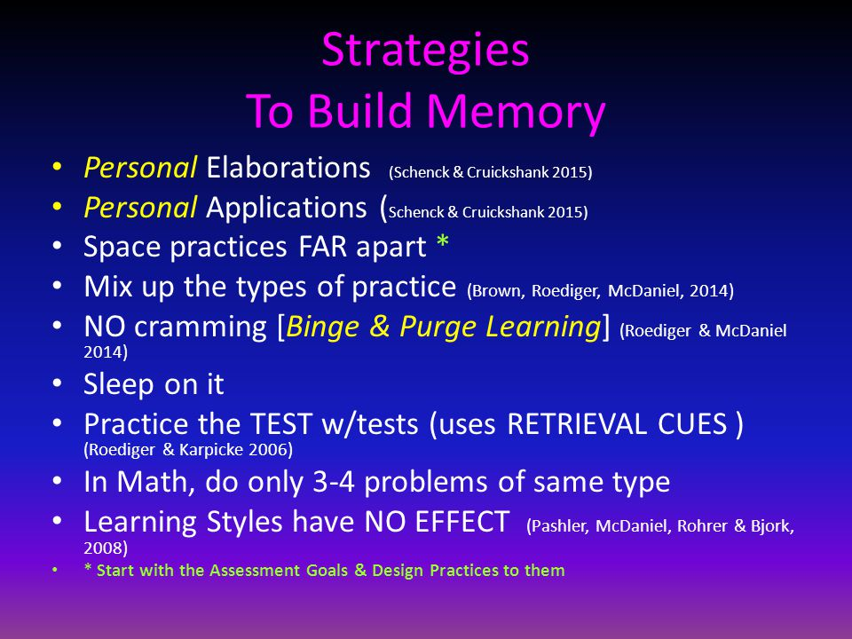 Strategies To Build Memory Personal Elaborations (Schenck & Cruickshank 2015) Personal Applications ( Schenck & Cruickshank 2015) Space practices FAR apart * Mix up the types of practice (Brown, Roediger, McDaniel, 2014) NO cramming [Binge & Purge Learning] (Roediger & McDaniel 2014) Sleep on it Practice the TEST w/tests (uses RETRIEVAL CUES ) (Roediger & Karpicke 2006) In Math, do only 3-4 problems of same type Learning Styles have NO EFFECT (Pashler, McDaniel, Rohrer & Bjork, 2008) * Start with the Assessment Goals & Design Practices to them