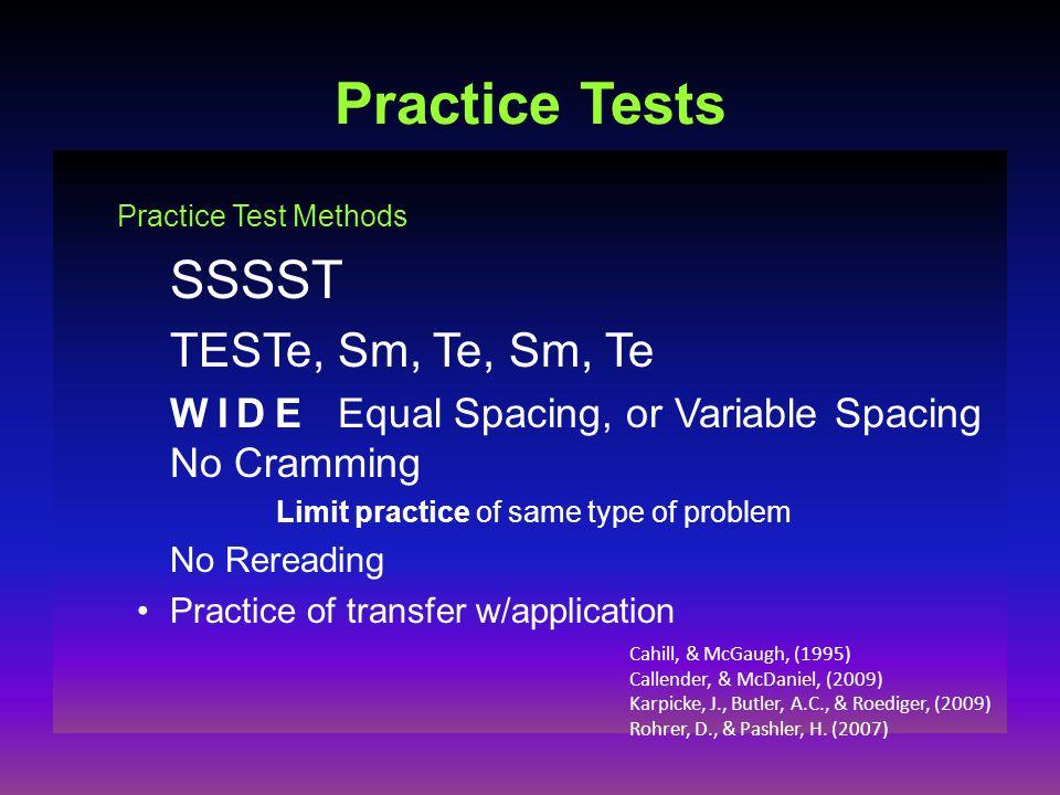 Practice Tests Practice Test Methods SSSST TESTe, Sm, Te, Sm, Te WIDE Equal Spacing, or Variable Spacing No Cramming Limit practice of same type of problem No Rereading Practice of transfer w/application Cahill, & McGaugh, (1995) Callender, & McDaniel, (2009) Karpicke, J., Butler, A.C., & Roediger, (2009) Rohrer, D., & Pashler, H.