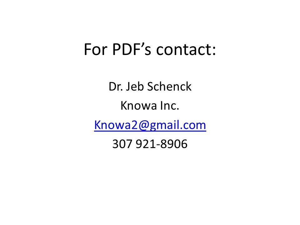For PDF's contact: Dr. Jeb Schenck Knowa Inc. Knowa2@gmail.com 307 921-8906