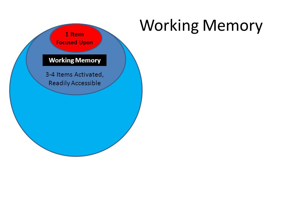 Working Memory 3-4 Items Activated, Readily Accessible 1 Item Focused Upon Working Memory