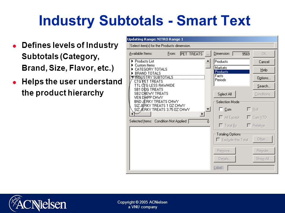 Copyright © 2005 ACNielsen a VNU company Industry Subtotals - Smart Text Defines levels of Industry Subtotals (Category, Brand, Size, Flavor, etc.) Helps the user understand the product hierarchy