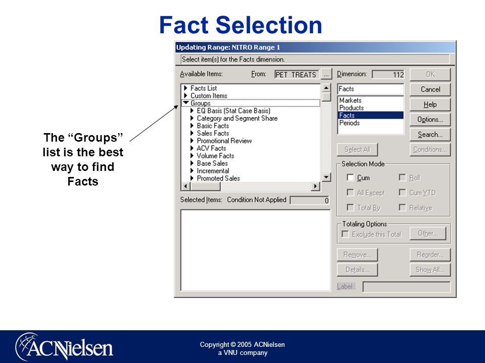 Copyright © 2005 ACNielsen a VNU company Fact Selection The Groups list is the best way to find Facts
