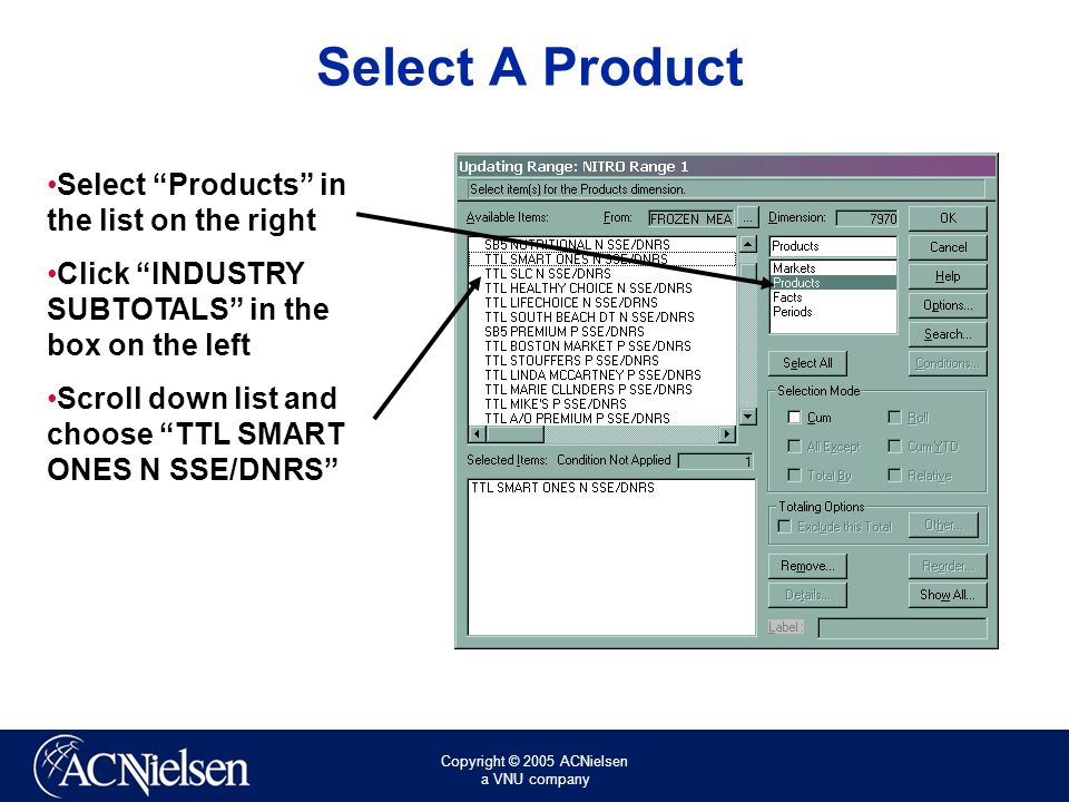 Copyright © 2005 ACNielsen a VNU company Select A Product Select Products in the list on the right Click INDUSTRY SUBTOTALS in the box on the left Scroll down list and choose TTL SMART ONES N SSE/DNRS