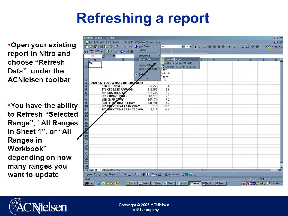 Copyright © 2005 ACNielsen a VNU company Refreshing a report Open your existing report in Nitro and choose Refresh Data under the ACNielsen toolbar You have the ability to Refresh Selected Range , All Ranges in Sheet 1 , or All Ranges in Workbook depending on how many ranges you want to update