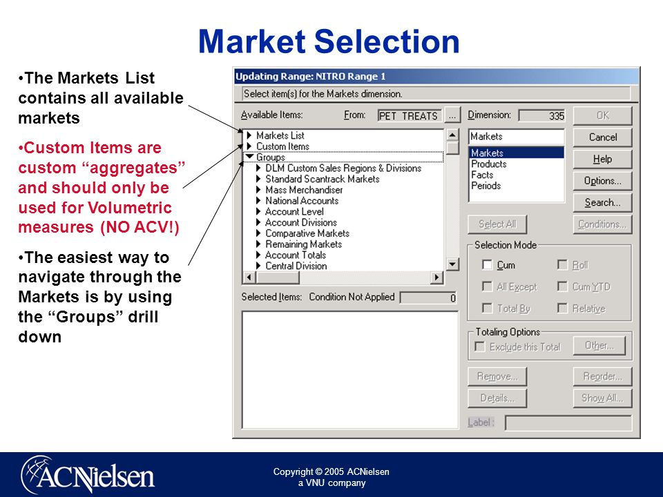 Copyright © 2005 ACNielsen a VNU company Select A Fact Select Facts in the list on the right Click Custom Items in the box on the left Choose $ Sales