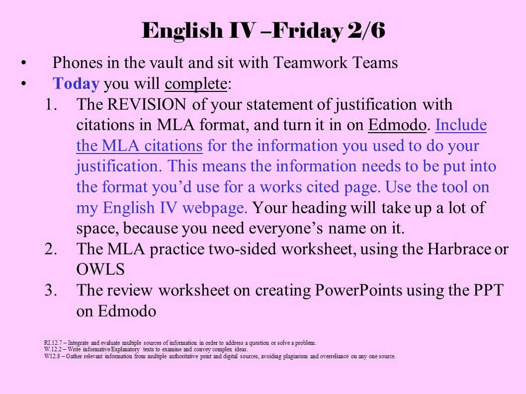 English IV –Friday 2/6 Phones in the vault and sit with Teamwork Teams Today you will complete: 1.