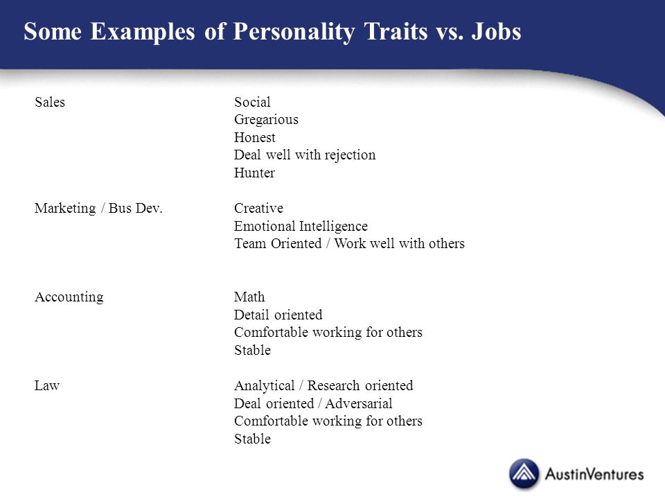 Some Examples of Personality Traits vs.