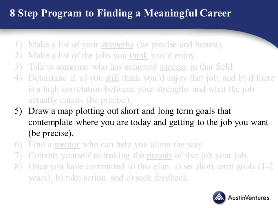 8 Step Program to Finding a Meaningful Career 1)Make a list of your strengths (be precise and honest).