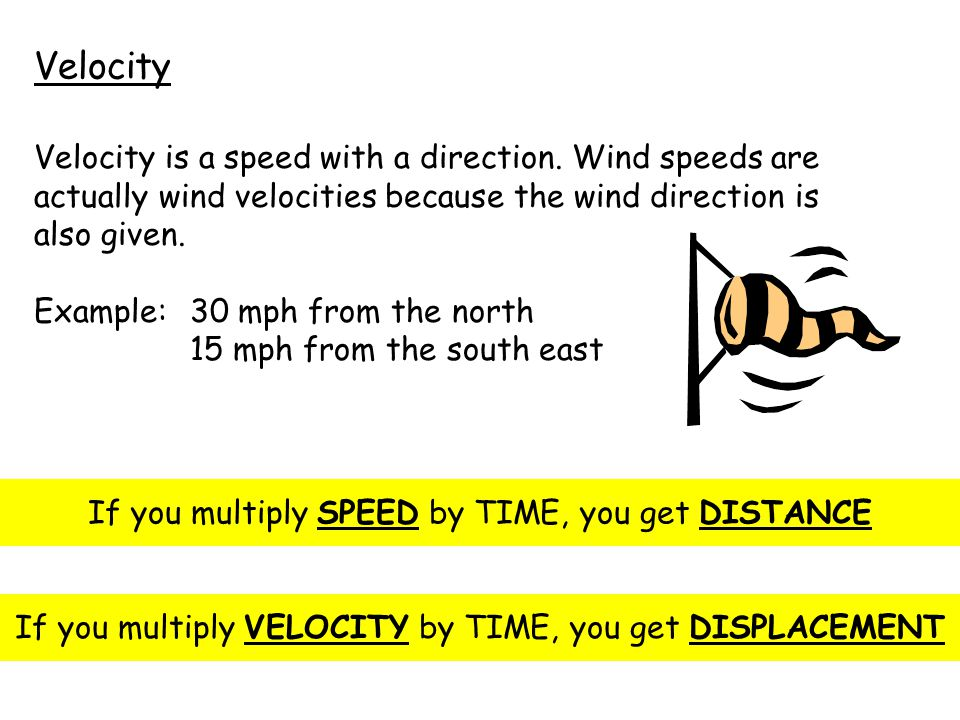 Velocity Velocity is a speed with a direction.