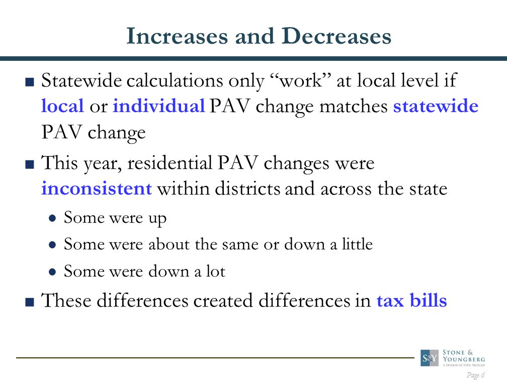 Page 17 Examples of School District Secondary Property Tax Changes  Assume that the amount levied for bond debt service and overrides was about the same as the previous year  Assume the district's total SAV decreased  The district secondary tax rate was increased to offset the SAV decrease