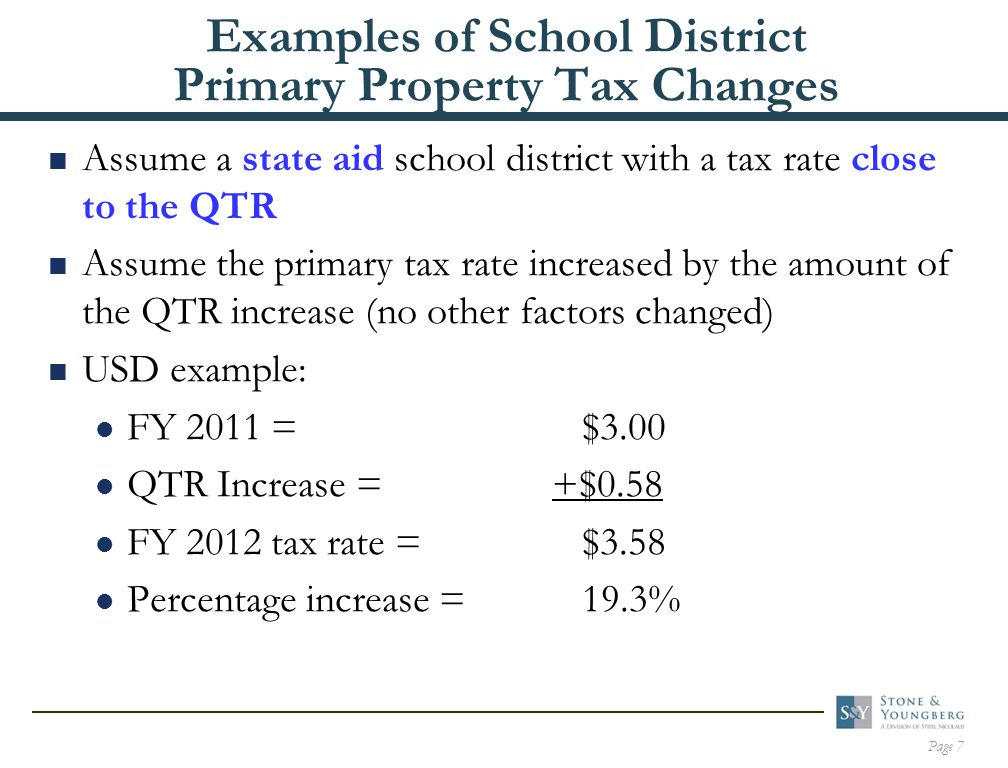 Page 7 Examples of School District Primary Property Tax Changes  Assume a state aid school district with a tax rate close to the QTR  Assume the primary tax rate increased by the amount of the QTR increase (no other factors changed)  USD example: FY 2011 = $3.00 QTR Increase = +$0.58 FY 2012 tax rate = $3.58 Percentage increase = 19.3%