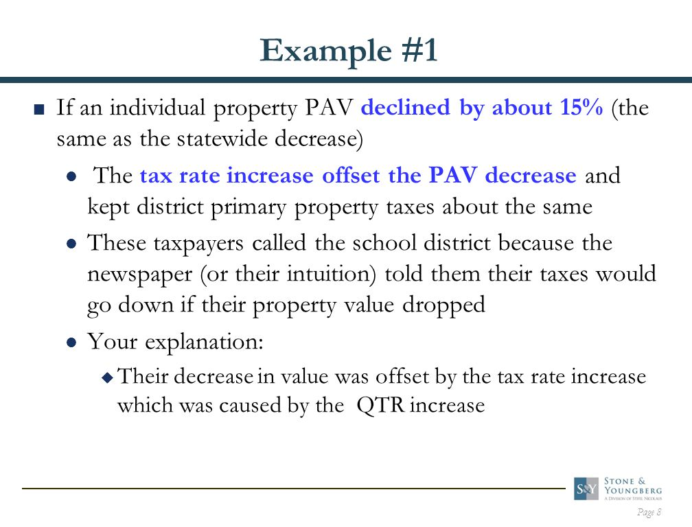 Page 9 Example #2  If the individual property PAV dropped 25% (more than the statewide decrease) The primary property taxes went down because the tax rate increase was not enough to offset the PAV decrease These taxpayers felt they got what they deserved and didn't call the school district Their tax cut did not reduce your total revenues because it was offset by  Increased taxes on property whose value didn't drop (or didn't drop as much)  Increased state aid if your total District PAV dropped by more than the statewide average