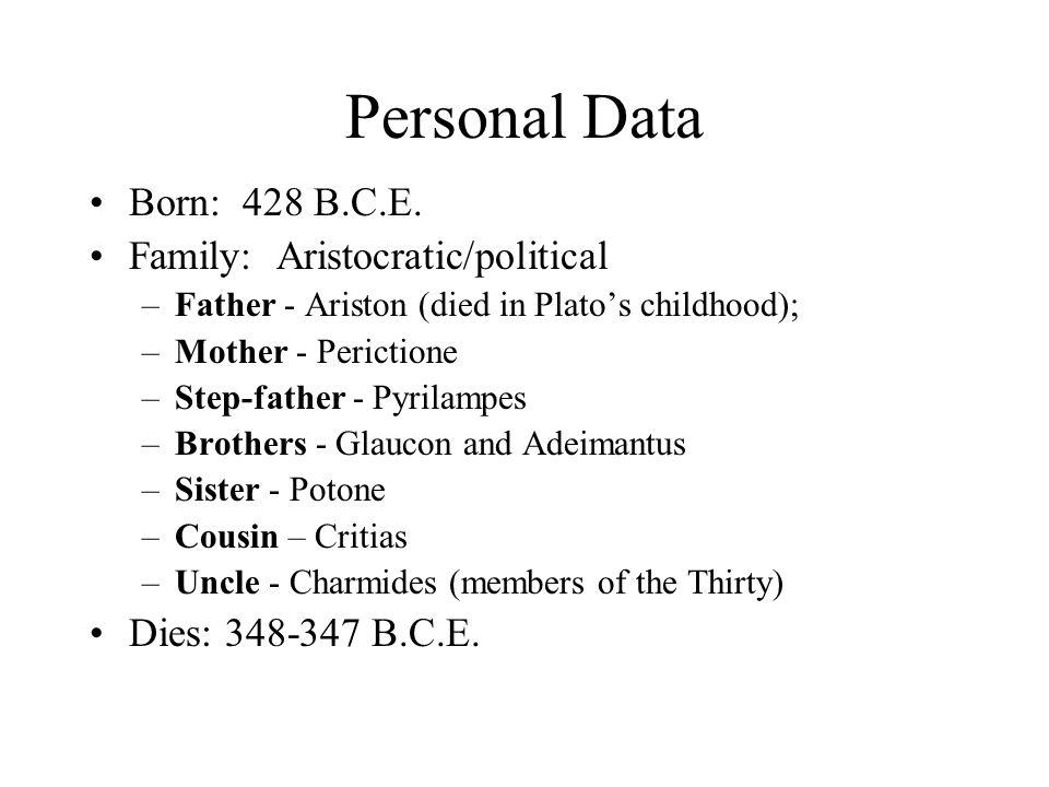 Personal Data Born: 428 B.C.E.