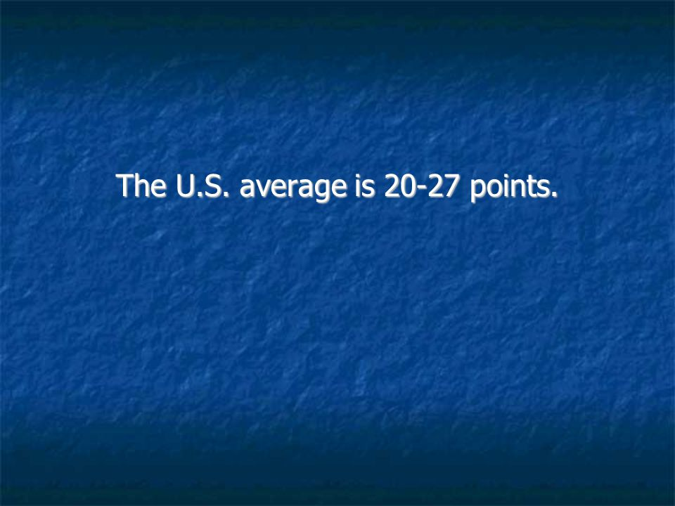 The U.S. average is 20-27 points.