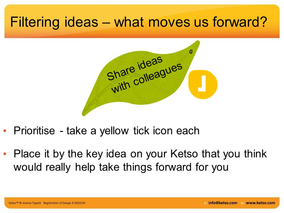 Filtering ideas – what moves us forward.