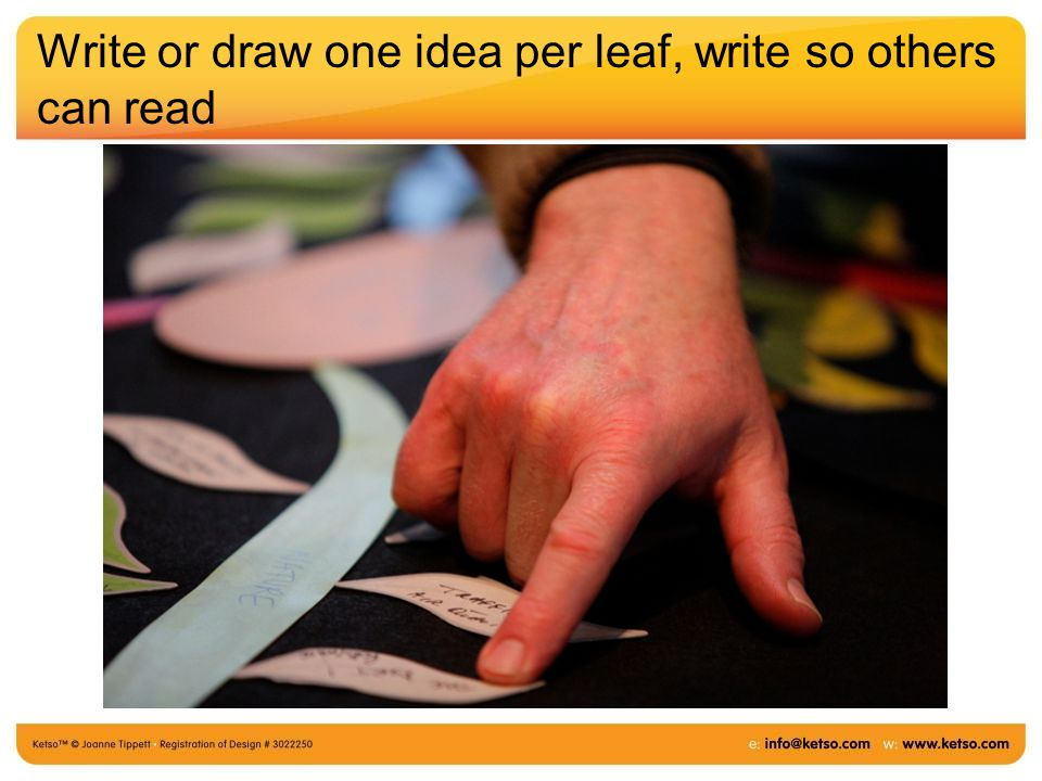 Write or draw one idea per leaf, write so others can read