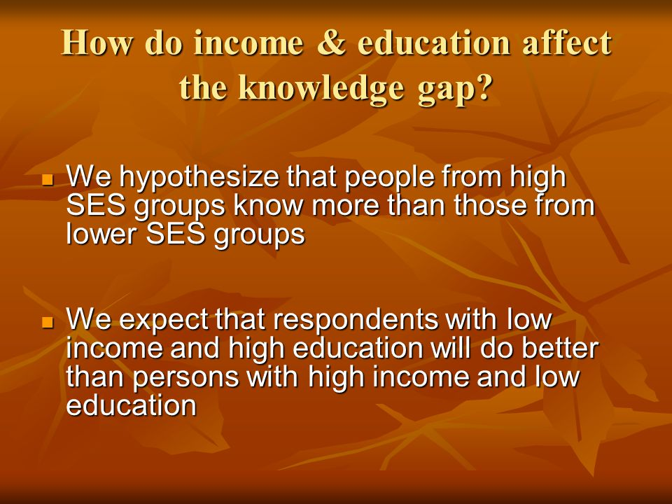 How do income & education affect the knowledge gap? We hypothesize that people from high SES groups know more than those from lower SES groups We hypo