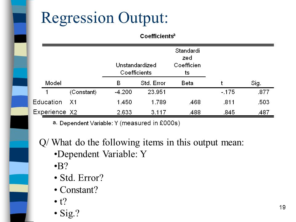 19 Regression Output: Education Experience (measured in £000s) Q/ What do the following items in this output mean: Dependent Variable: Y B.