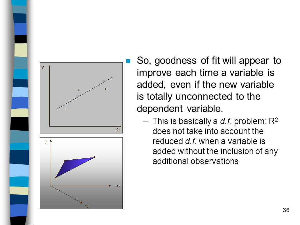 36 n So, goodness of fit will appear to improve each time a variable is added, even if the new variable is totally unconnected to the dependent variab