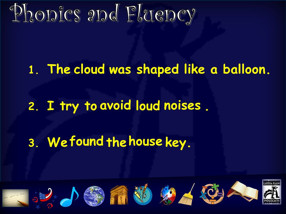 1. The was shaped like a balloon. 2. I try to loud. 3. We the key. cloud avoidnoises foundhouse