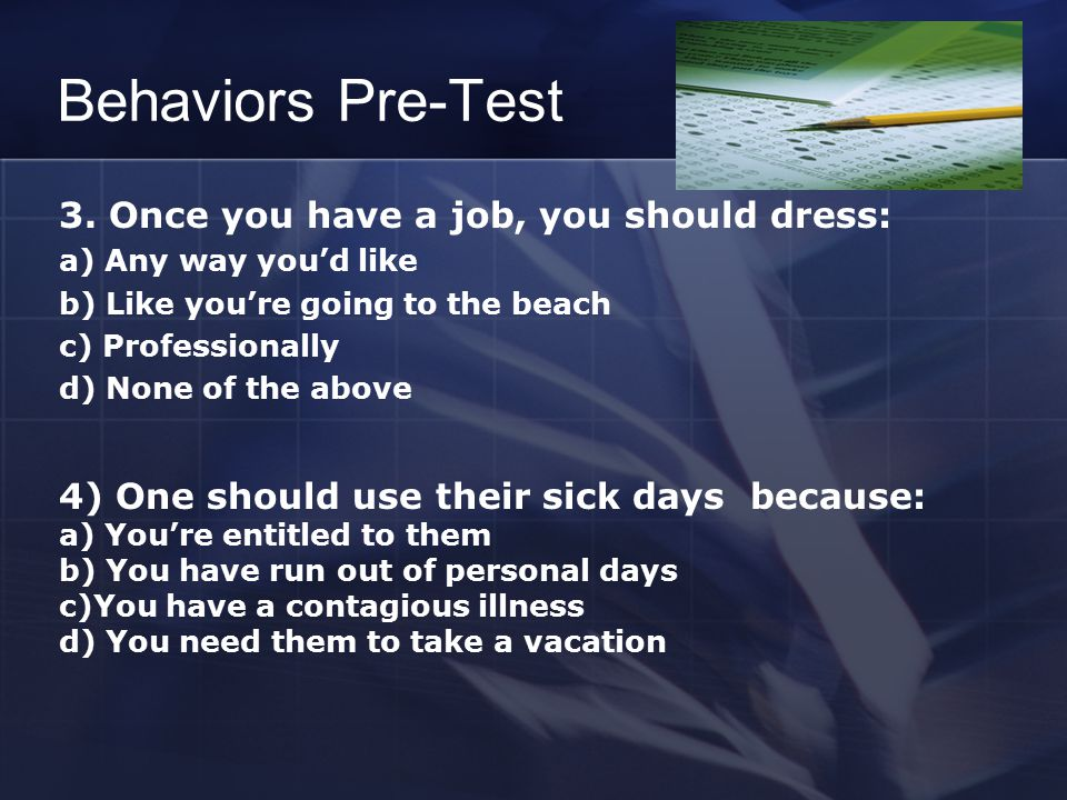 Behaviors Pre-Test 3.