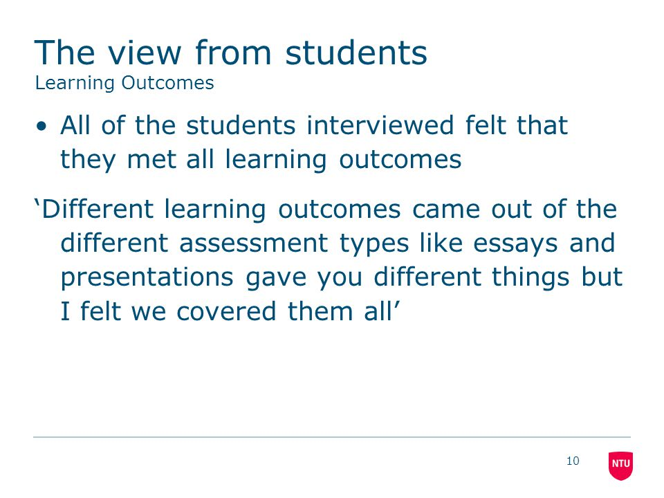 The view from students Learning Outcomes All of the students interviewed felt that they met all learning outcomes 'Different learning outcomes came out of the different assessment types like essays and presentations gave you different things but I felt we covered them all' 10
