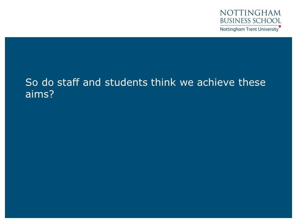 So do staff and students think we achieve these aims?