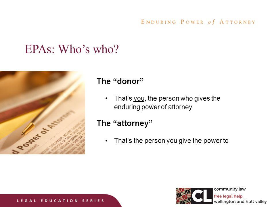 EPAs: Who's who.