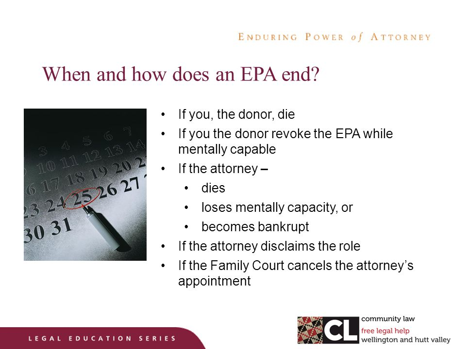 When and how does an EPA end.