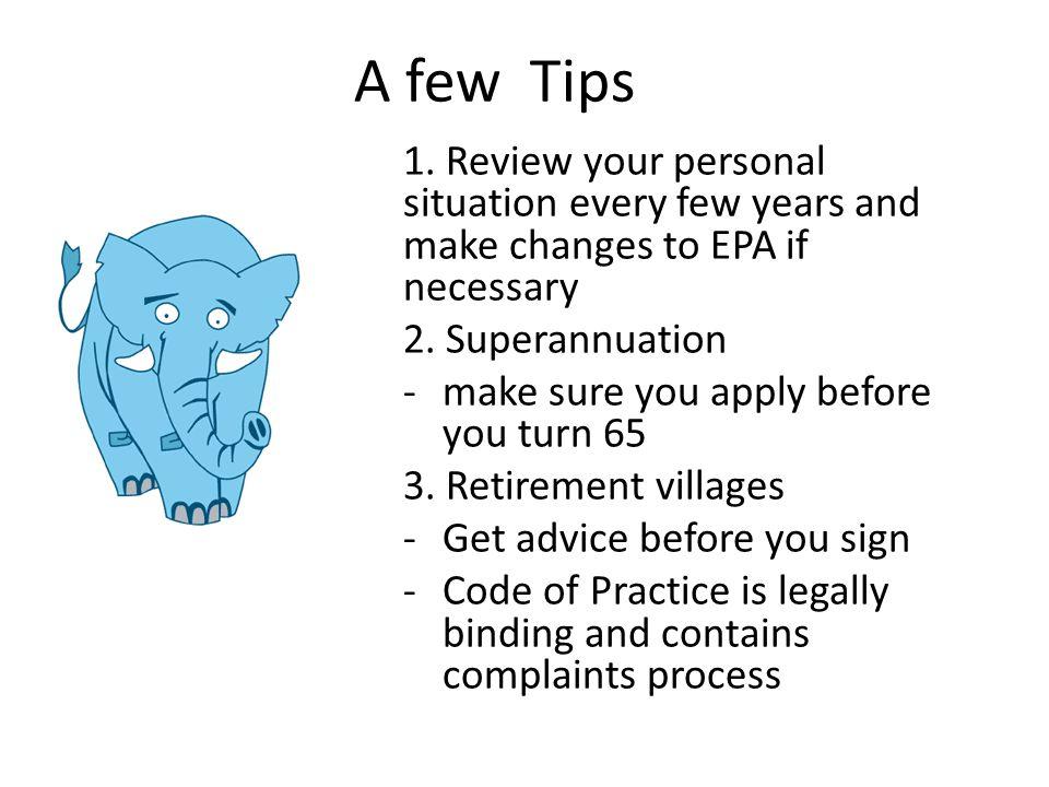 A few Tips 1.