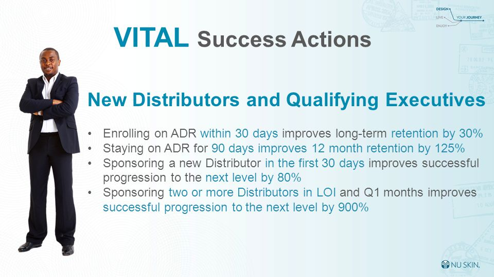 VITAL Success Actions New Distributors and Qualifying Executives Enrolling on ADR within 30 days improves long-term retention by 30% Staying on ADR for 90 days improves 12 month retention by 125% Sponsoring a new Distributor in the first 30 days improves successful progression to the next level by 80% Sponsoring two or more Distributors in LOI and Q1 months improves successful progression to the next level by 900%