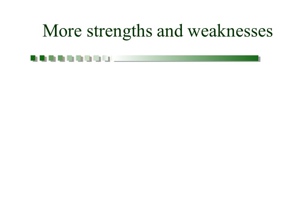 More strengths and weaknesses