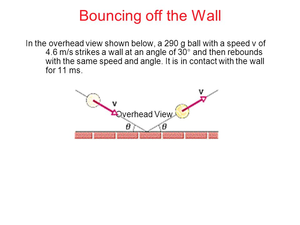 Bouncing off the Wall In the overhead view shown below, a 290 g ball with a speed v of 4.6 m/s strikes a wall at an angle of 30° and then rebounds with the same speed and angle.