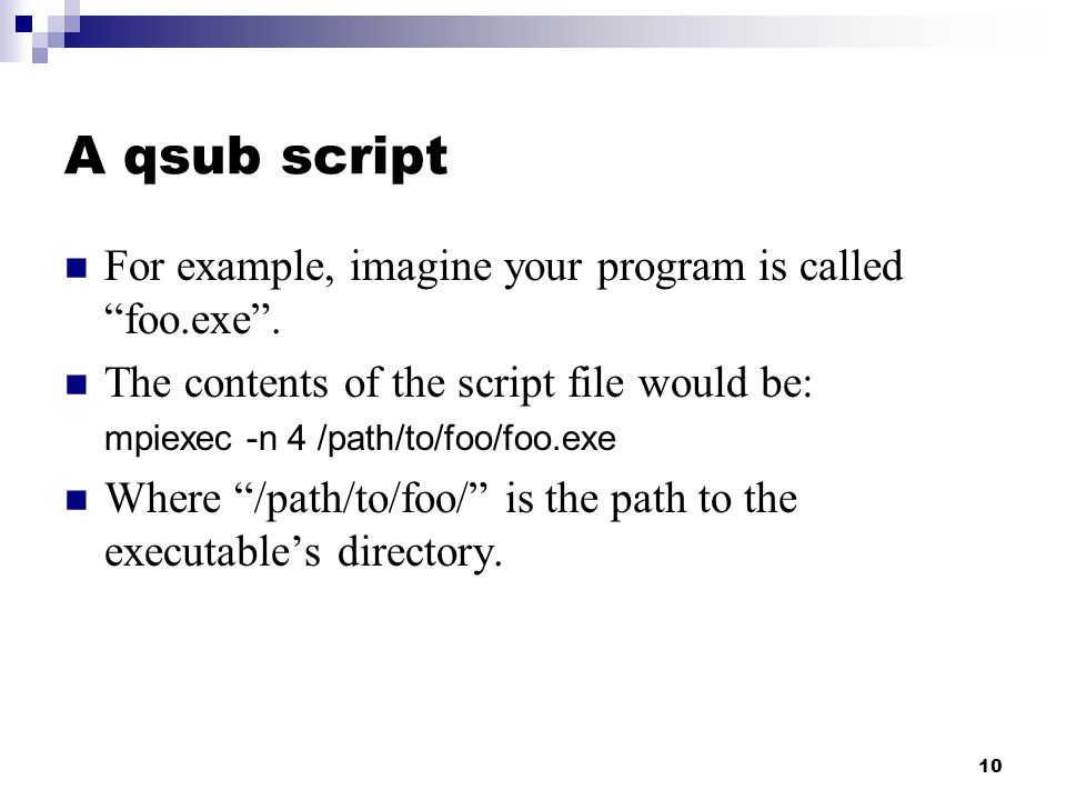 10 A qsub script For example, imagine your program is called foo.exe .