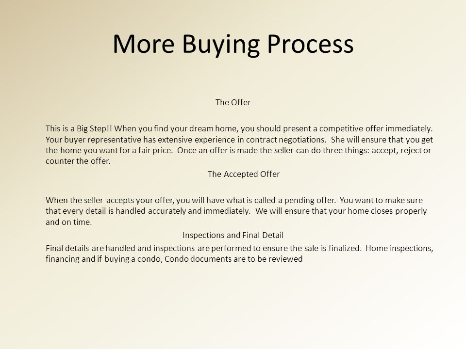 More Buying Process The Offer This is a Big Step!.