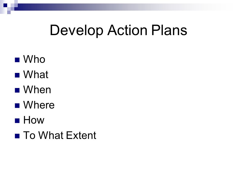 Develop Action Plans Who What When Where How To What Extent