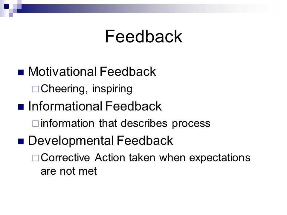 Feedback Motivational Feedback  Cheering, inspiring Informational Feedback  information that describes process Developmental Feedback  Corrective Action taken when expectations are not met