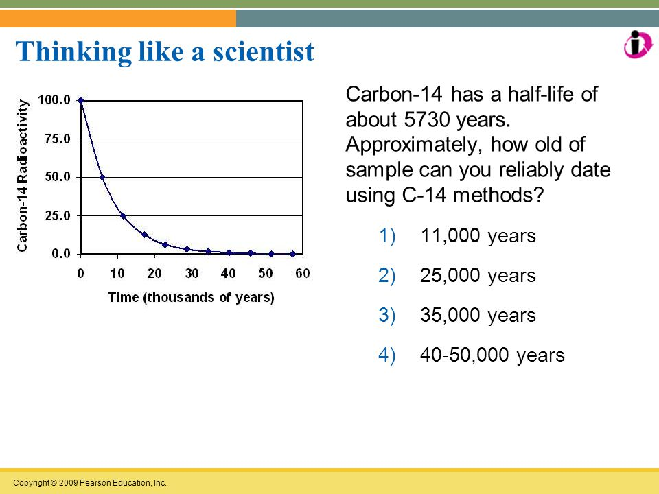Copyright © 2009 Pearson Education, Inc. Thinking like a scientist Carbon-14 has a half-life of about 5730 years. Approximately, how old of sample can