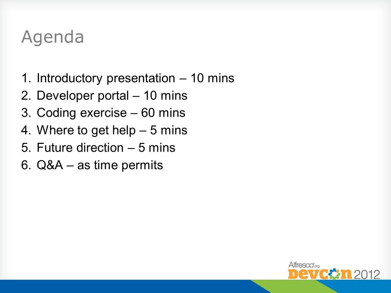Agenda 1.Introductory presentation – 10 mins 2.Developer portal – 10 mins 3.Coding exercise – 60 mins 4.Where to get help – 5 mins 5.Future direction