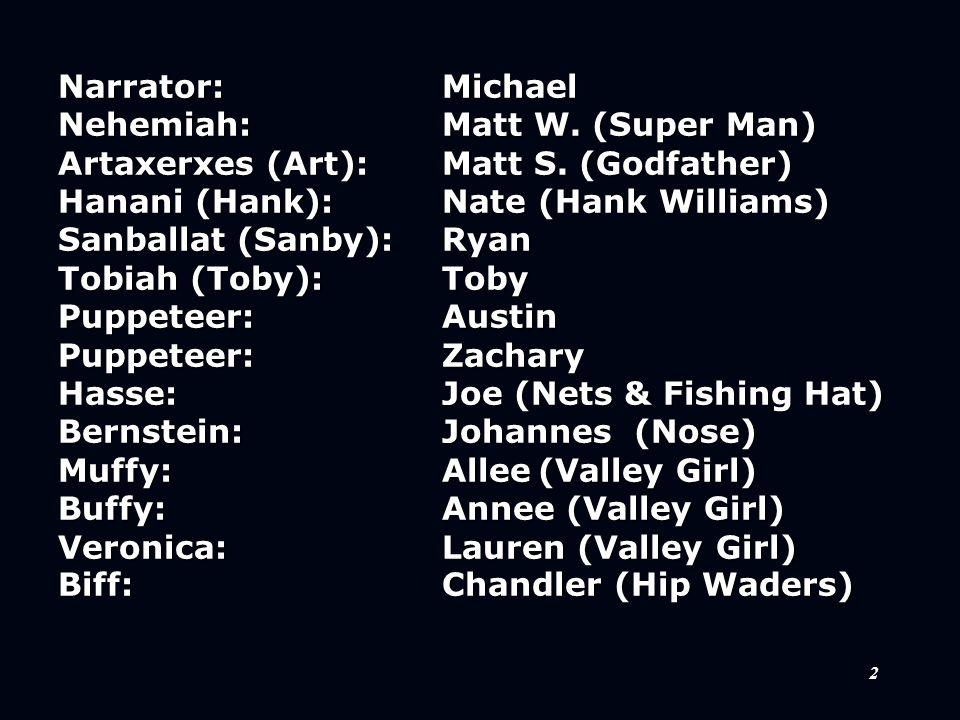 2 Narrator:Michael Nehemiah:Matt W. (Super Man) Artaxerxes (Art):Matt S. (Godfather) Hanani (Hank):Nate(Hank Williams) Sanballat (Sanby):Ryan Tobiah (